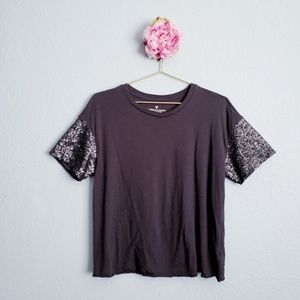 3 FOR $15 American Eagle Grey Sequin Sleeve Tee